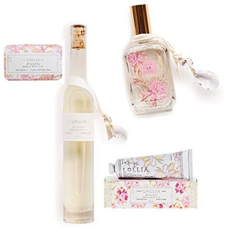 - Lollia Breathe Bathing Collection 4 Piece Peony & White Lily Luxury