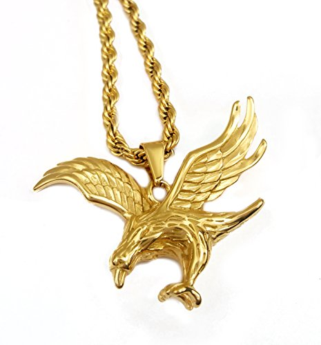 (18k Gold Plated Flying Eagle Pendant Stainless Steel Necklace with 24
