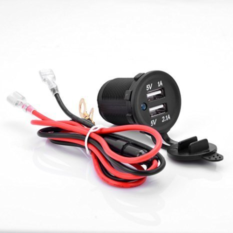 12V-1A-21A-Waterproof-Dual-2-USB-Port-Power-Socket-Mobile-GPS-Charger-Car-Boat-Marine-Carvans