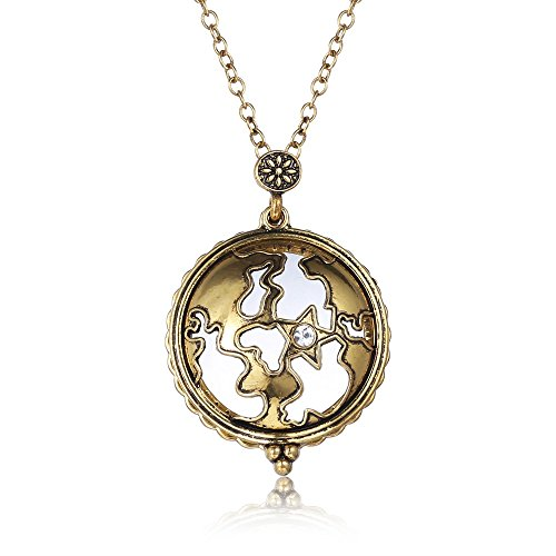 Dream Alice Ethnic Style Star Shaped Pendant Magnifying Glass for Reading Necklace Hollow Out Pendant with Sweater Chain Women