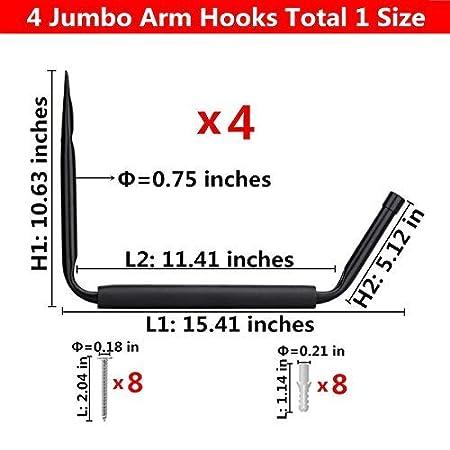 Wall Mount or Dock Hanging Hooks for Canoe,Paddle Board,Surfboard,Snow Board,Ladder Heavy Duty Garage Hangers Kayak Storage Utility Rack