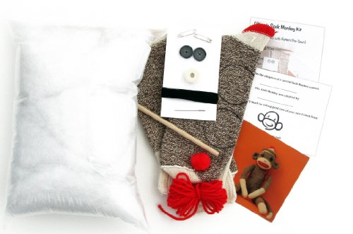 (Ultimate All-in-1 Sock Monkey Kit with Pattern Pre-sewn on Socks (Rockford Red Heel Brown))