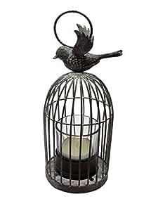 Jaula de pájaro jaula de pájaros rústico portavelas de cristal vaso de cristal 19x 8x 8cm
