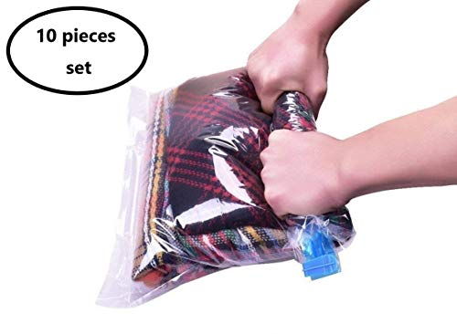 SunCaptor 10 packs Travel Storage Bags for Clothes - Compression Bags for Travel - No Vacuum or Pump Needed-Save Space in your Luggage