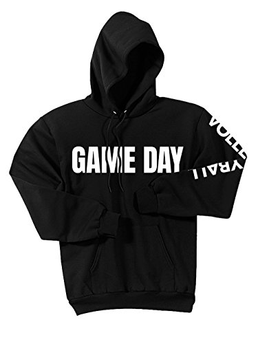- Game Day Volleyball Hoodie, Black, Large