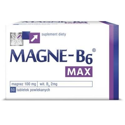 MAGNE B6 MAX - 50 capsules - is a dietary supplement containing in its composition magnesium and vitamin B6, for people suffering weakness, fatigue, twitching eyelids and muscle spasms by Sanofi