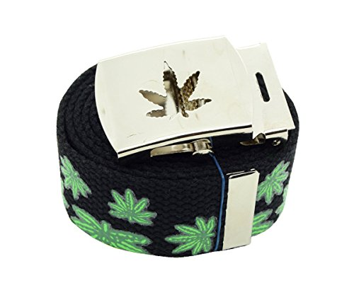 Marijuana-Leaf-Canvas-Military-Punch-Black-Web-Belt-Buckle-60-inches