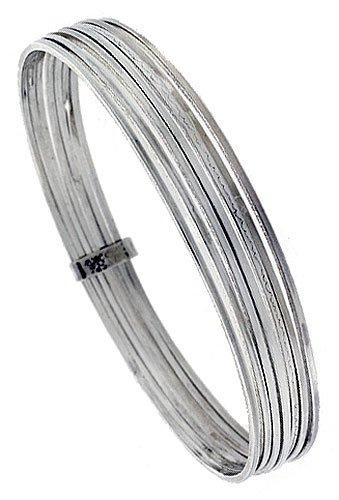 Handmade Silver Bangle - Sterling Silver 7-day Bangle Bracelet Handmade 7 inch