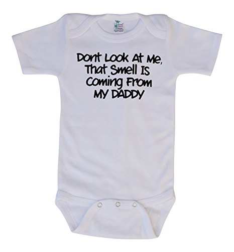 Pressin Unisex-Baby Smell Coming From Daddy White Bodysuit 6-12mths Black Print