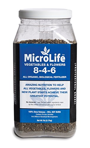 Organic Fertilizer Multi Purpose For All New & Established Vegetables, Flowers Trees and Bushes Professional Grade by Microlife Granulated (8-4-6) 7LB