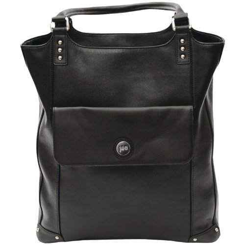Jill-e Designs E-GO Laptop Tote - Black Leather (Ego Laptop Tote)
