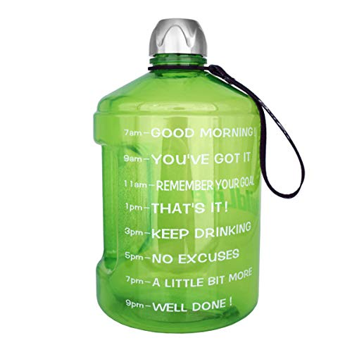 BuildLife 2.2L(73OZ) Water Bottle Motivational Fitness Workout with Time Marker |Drink More Water Daily|Clear BPA-Free|73OZ of Water Throughout The Day (Green,73OZ)