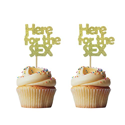 Morndew 24 PCS Gold Glitter Here For The Sex Funny Wedding Gender Reveal Cupcake Topper for Anniversary Party Engagement Birthday Party Decorations ()