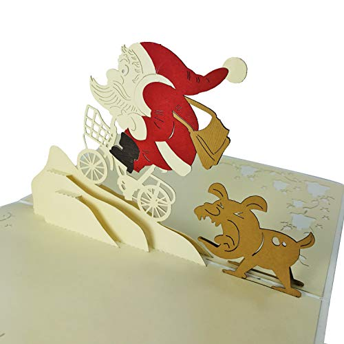 Christmas Affordable Pop Up Holiday Cards - WOW 3D Cards - Handmade Holiday Greeting Card With Envelope, Blank Inside, Special Unique Gift For All Ages, Genders (Santa & the Dog) (Nativity Cards Dog Christmas)