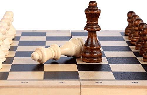 QPLKKMOI Houten Schaak, Portable Folding Board, Chess Game, geschenken en bordspellen for volwassenen en kinderen