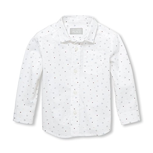The Children's Place Baby Boys Long Sleeve POPLIN Printed Woven Shirt, White, 4T