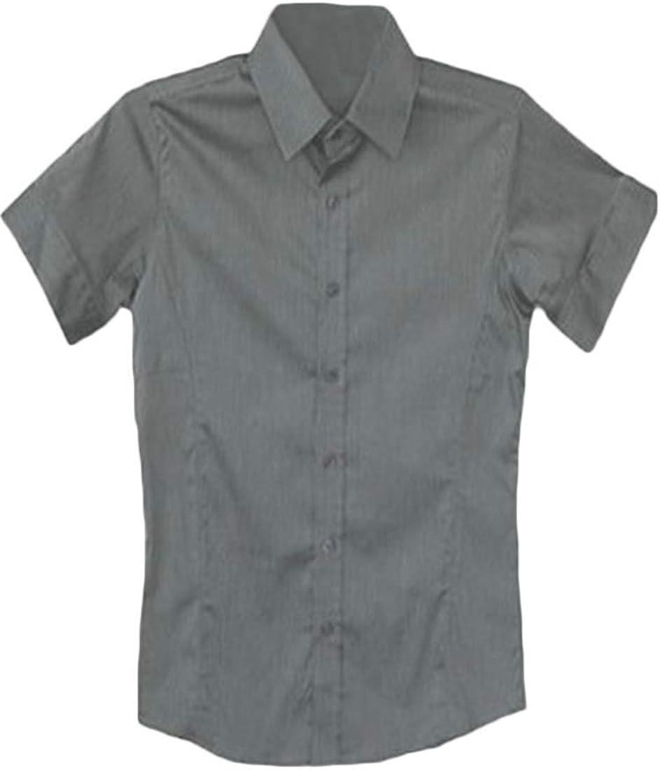 KLJR Men Loose Casual Lapel Neck Plain Long Sleeve Button Down Shirt