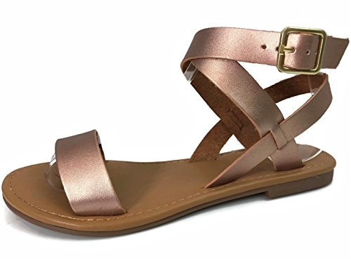 City Classified Ankle Wrap Strap Sandal With Buckle Rose Gold LptBNQOrFU