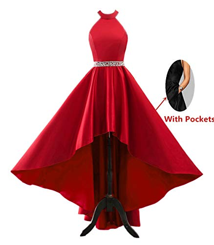 (Changuan Halter High Low Evening Party Dress Satin Homecoming Prom Dresses Sleeveless Red-6)