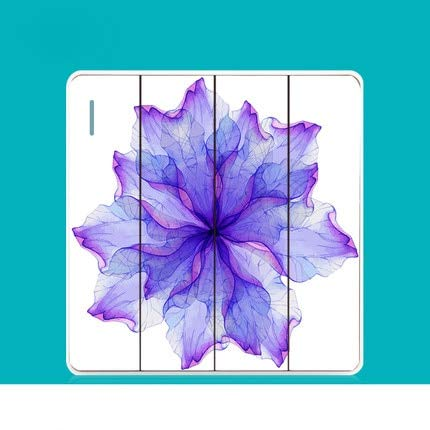 Four gang one way   220V 86 Switch Socket Panel Fresh Personality Creative Art Switch Bloom Purple Series PC 220V 10A  (color  Three Gang one Way, Voltage  220V)