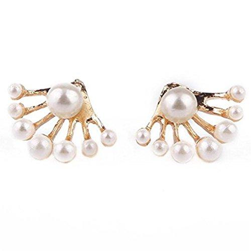 DENER Women Girls Ladies Pearl Ear Clips Stud Front and Back Earbob Hoop Dangle Drop Earrings Eardrop (Gold)