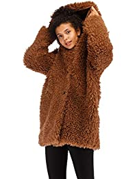 Kooos New Ladies Womens Soft Teddy Sherpa Fleece Hooded Jumper Hoody Jacket Coat