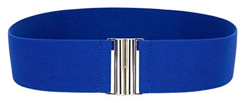 Buckle Wide Corset (RoseSummer New Womens Silver Buckle Wide Stretch Elastic Corset Waist Belt Waistband (sapphire)