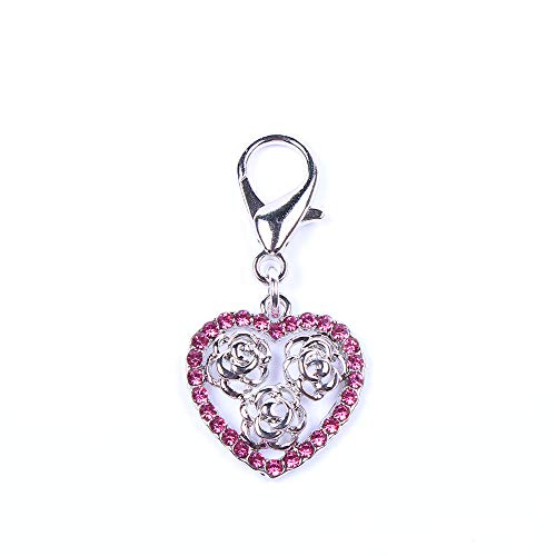 SKS PET TM Bling Rhinestones Heart&Rose Charm Pendant Jewelry For Female Pet Dog Cat Necklace Collar Accessory (Pink)