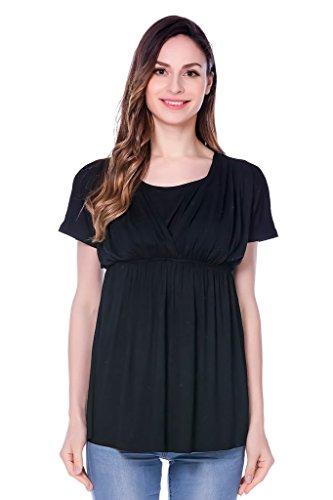 Bearsland Womens Maternity Shirt Nursing Tops Modal Comfy Breastfeeding Dress
