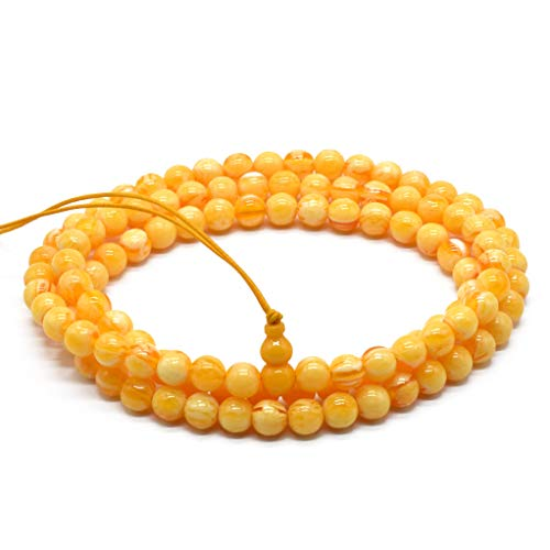 Rhythm Daily Unisex Mens Womens Imitation Beeswax Beads Fashion Surround Classics Necklace Mala Special Wristband Elastic Bracelet (FML-08mm108 - Beeswax Beads Necklace