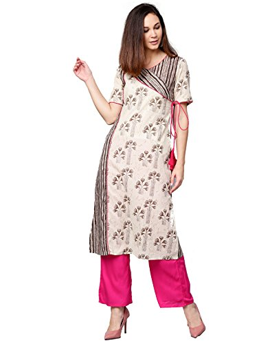 Jaipur Kurti Women Off White & Rani Ethnic Motifs A-Line Cotton Kurta With - Women For Party Salwar Wear Suits