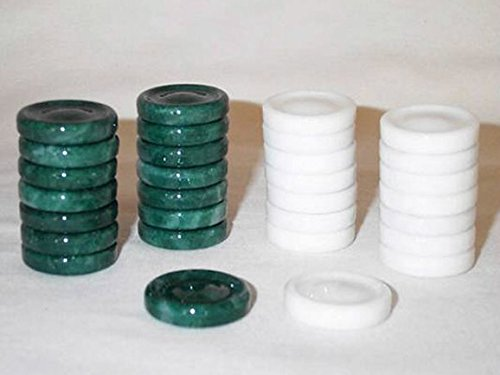 Quality Stone Backgammon Pieces, Replacement Backgammon Chips or Checkers - 1.25 Inch, Green and White
