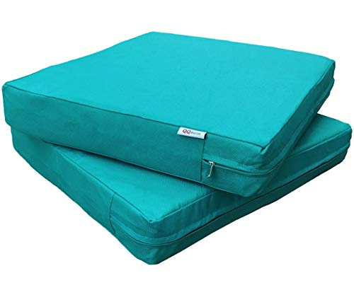 QQbed 2 Pack Outdoor Patio Deep Seat Memory Foam (Seat and Back) Cushion Set with Waterproof Internal Cover - Size 24X22X4, Peacock Blue