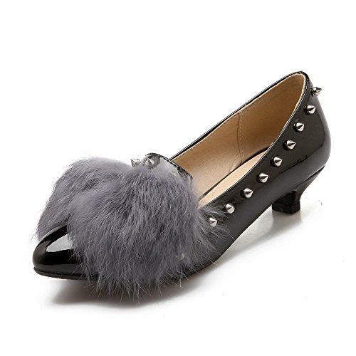 Amoonyfashion Womens Pull-on Puntige Dichte Teen Lage Hakken Pu Stevige Pumps-schoenen Zwart