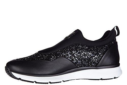 Hogan Kvinna Läder Slip På Sneakers H254 Traditionella Svarta