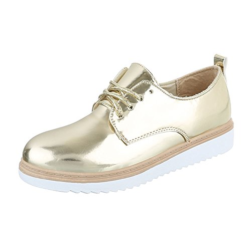Ital-Design WoMen Lace-Up Flats Gold