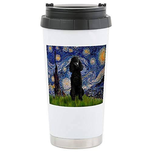 CafePress Starry Night Black Poodle (ST Stainless Steel Trav Stainless Steel Travel Mug, Insulated 16 oz. Coffee ()