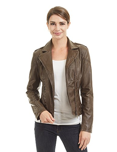 Eyelet Womens Jacket (Come Together California CTC WJC1426 Womens Faux Leather Eyelet Open Moto Jacket M Coffee)