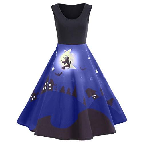 iYBUIA Autumn Winter Women's Vintage Print O-Neck Sleeveless Halloween Long Dress(Blue,L) -