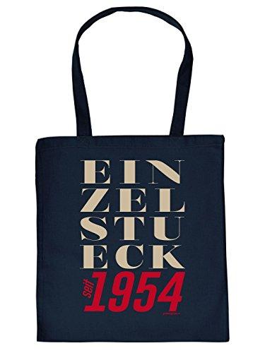 Geschenkidee zum 60. Geburtstag: Unisex Jutetasche/ Einkaufstasche/ Stoffbeutel/ Einzelstück seit 1954 Hipster Font