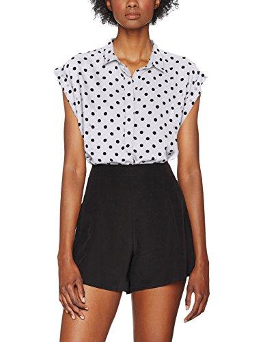 WVN AOP Rollup Femme Onlpixie Big Only Shirt Dots Dancer Cloud S Blanc Blouse S preppy Black Aop YXnq5g