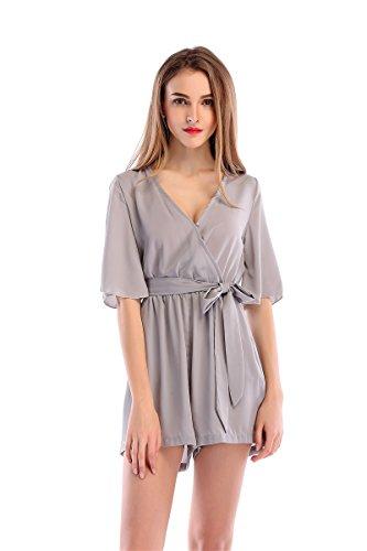 Soie Gray Casual Mousseline Fashion De Dames Jumpsuit Pyjamas XL Jupe Tn1wxRfqPw