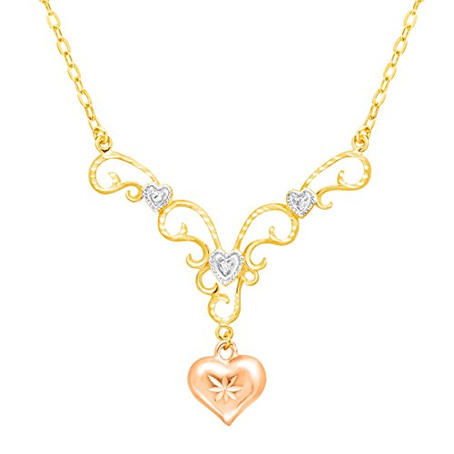 - Heart Garland Drop Necklace with Diamond in 18K Two-Tone Gold-Plated Sterling Silver, 18