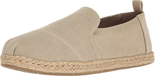 TOMS Women's Deconstructed Alpargata Desert Taupe Washed Canvas Loafer - Toms Shoes Size 11