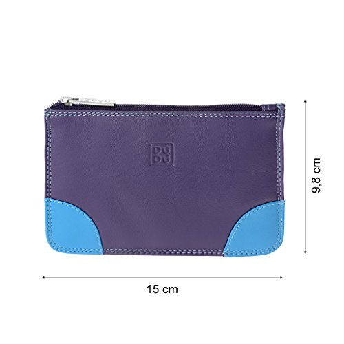Bustina portatutto donna in vera pelle colorata con zip e 3 tasche porta carte DUDU Viola