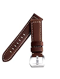 Vetoo 22mm / 20mm Leather Watch Band, Genuine Cowhide Replacement Watch Strap for Men and Women (Panerai Brown)
