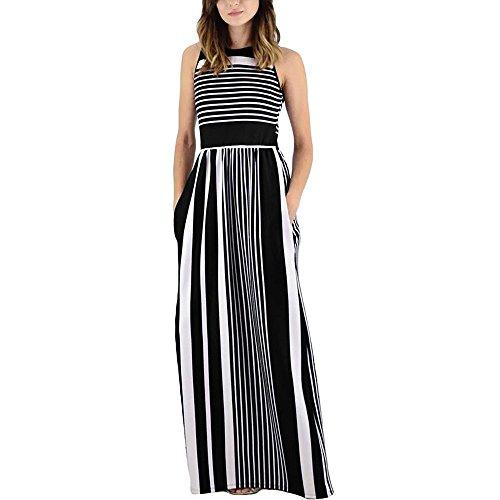 BODOAO Women Striped Long Maxi Dress with Pockets Summer Sleeveless Crewneck Dress ()