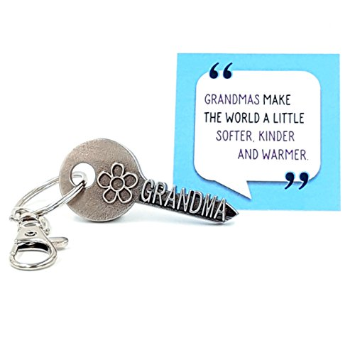 New Great Gifts - key2Bme GRANDMA key - grandmother flower keychain & inspirational quote - cool fun unique best small mother day gift under $10 for new great grandmother birthday from grandson granddaughter