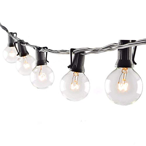 Monkeydg 50FT String Lights, G40 Outdoor String Lights Edison Light Bulbs Clear Globe Lights for Backyard Patio Lights Indoor/Outdoor Commercial Decoration -5 Watt/120 Voltage/E12 Base -Black Wire (Wire Lights String Black Globe)