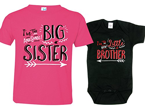 Sisters Outfit, Brothers Onesie, Hipster Design, Includes Medium 10-12 & 0-3 mo